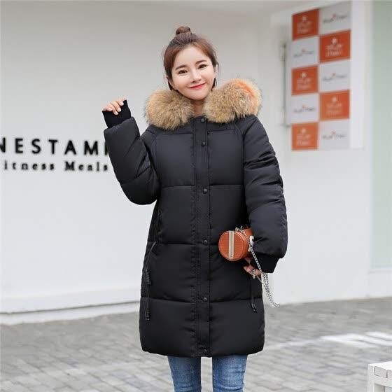 28964c78 Женщин с капюшоном меховой воротник вниз хлопок пальто женщин длинный  хлопок куртка мода вниз хлопок куртка