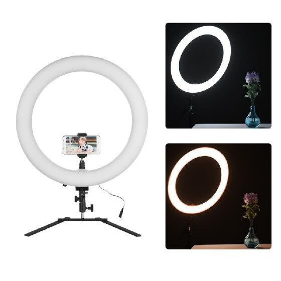 18inch LED Ring Light 5600K 60W Dimmable Camera Photo Video Lighting Kit with Tabletop Stand Phone Clamp Ball Head for IPhone X