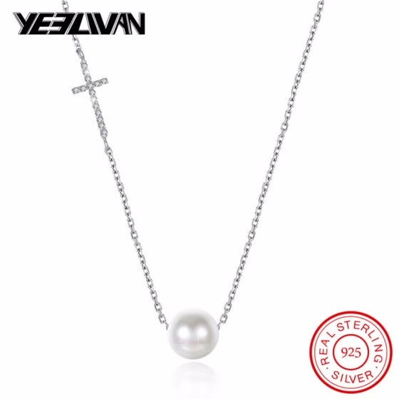 Shop Personality Crystal Cross Female Short Necklace 925 Sterling