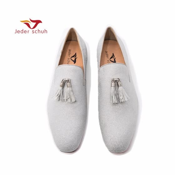 3718ea4bd7c Wedding and Prom silvery colors men smoking slippers luxurious glitter  Handmade men loafers male flats