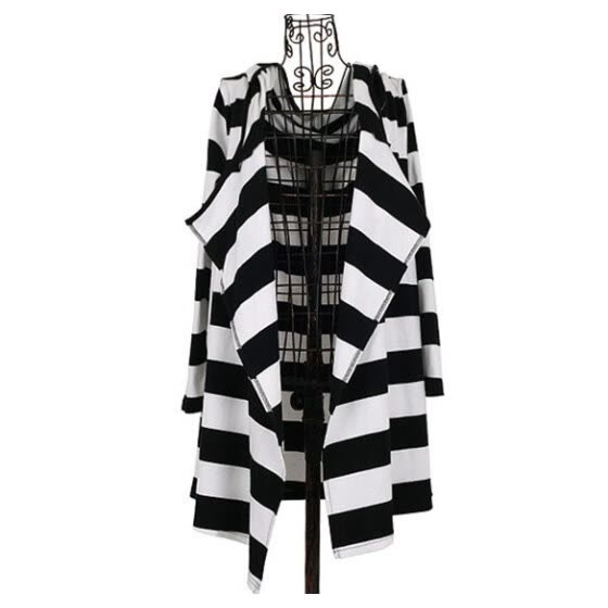 New Fashion Sexy Women's Girl Loose Striped Coat Jacket Long Cardigan Hooded Hoodie Top
