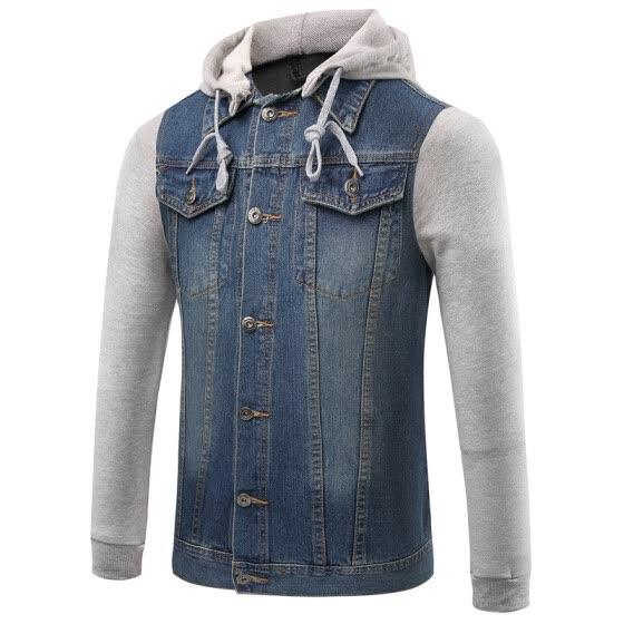 bba3d8942b8 Spring And Autumn Fat Men XL Men s Denim Jacket Hooded Man Denim Coat  Selling Clothes Plus