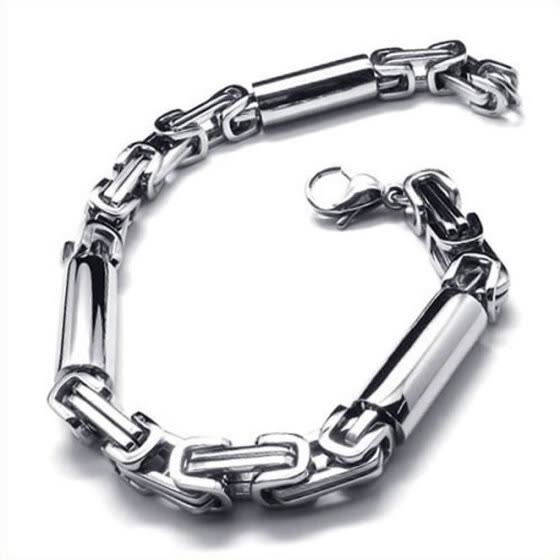 Hpolw silver&black Stainless Steel Circular geometry/hollow connecting chain bicycle Link Mens Lobster Clasps Bracelet