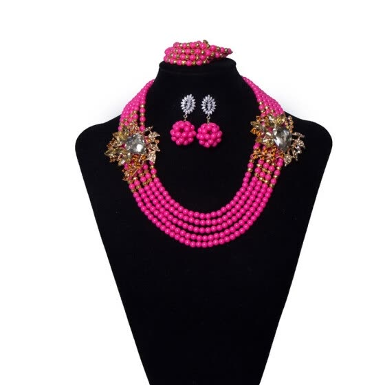 6 Rows Pink Women Jewelry Set Handmade Beaded Crystal Necklace Fashion African Wedding Jewellery Set Bridal Jewelry Free Shipping