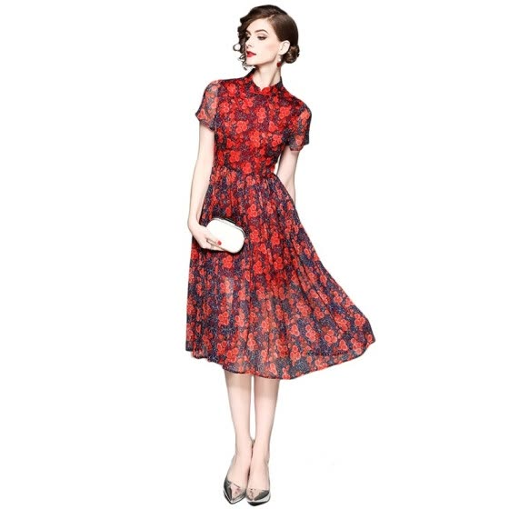 Vintage Dress 2018 New Summer Chinese Style  A-Line Print Floral Short Sleeve Knee-Length Dress