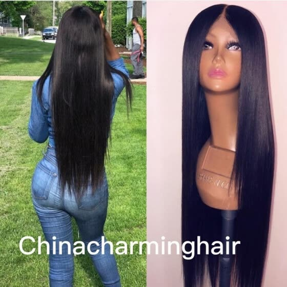 unprocessed brazilian middle parting silky straight virgin human hair glueless full lace wig natural hairline with baby hair