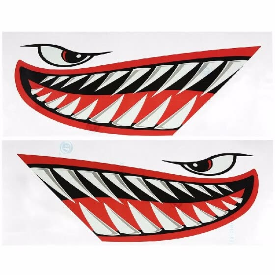 Shop 2 Pieces Waterproof Shark Teeth Mouth Stickers Kayak