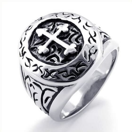 Hpolw Stainless Steel Classic Vintage  a streaks  edged with lace / with a cut - out cross Mens Ring , Silver&black Mens Ring,Wi