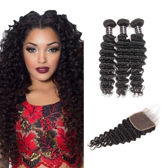 Ishow Best Selling Malaysian Deep Wave With Closure 3 Bundles Malaysian Virgin Hair With Closure 7A Malaysian Deep Curly Hair