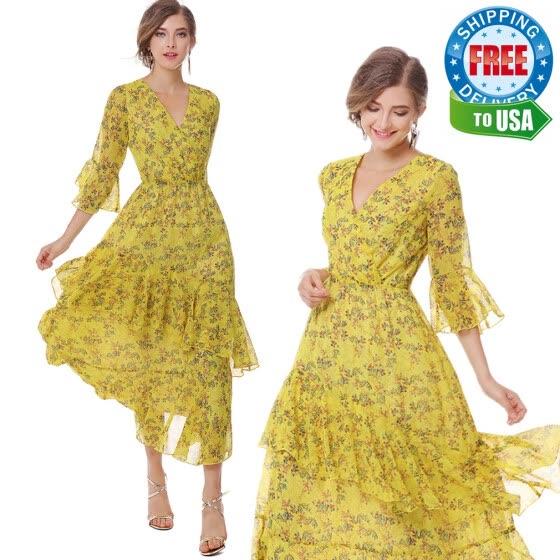 7aa3935830c XINUO Womens Dresses Yellow Floral Maxi Dress 3 4 Sleeve V Neck High Waist  Chiffon