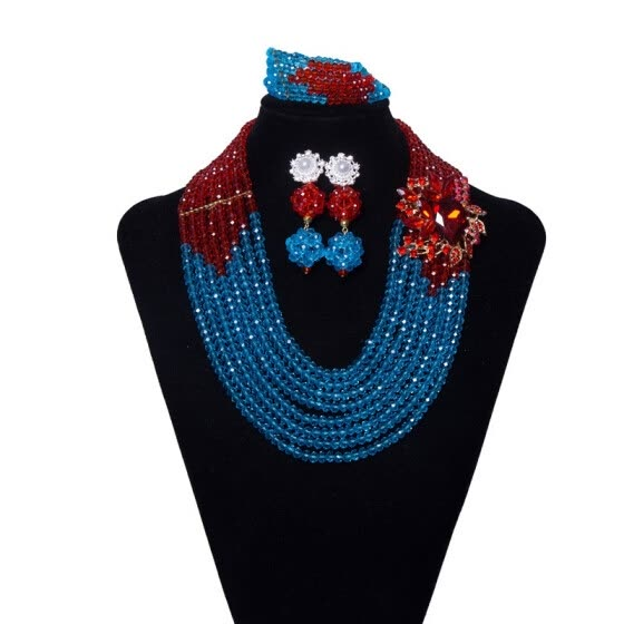 Purple And Blue Crystal Pearl Bridal Jewelry Set Wedding Coral Jewelry African Wedding Nigerian Beads Necklace Jewelry Set