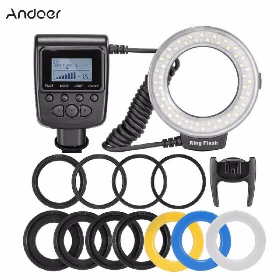 48 LED Macro Ring Flash Continuous Light 8 Lens Adapter for Canon Nikon