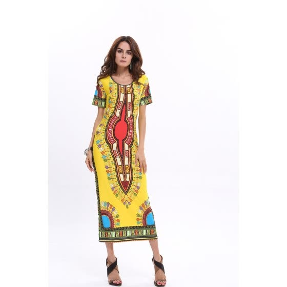 2ee32995aec78 2015 New Dashiki Fashion Thailand Indonesia retro geometric totem sexy  african dress Female print dress