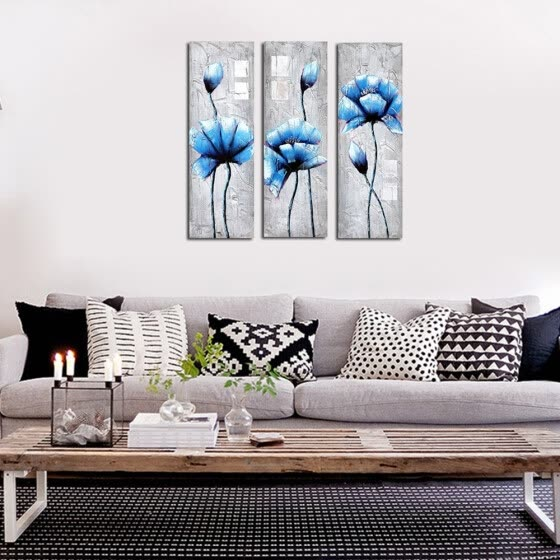 Shop Framed Canvas Modern Living Room Bedroom Background Wall Triple Frame Abstract Flower Plaque Decorative Painting Online From Best Wall Stickers Murals On Jd Com Global Site Joybuy Com
