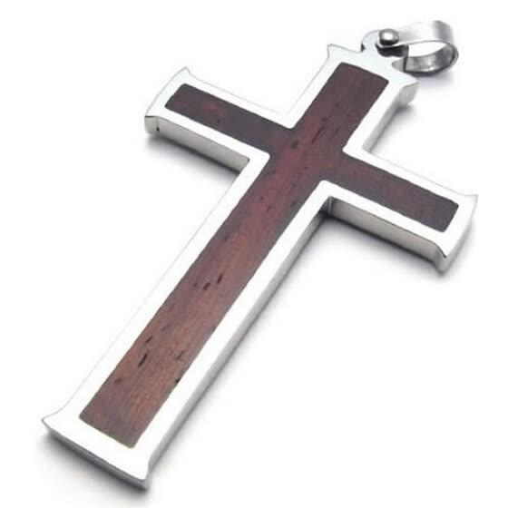Hpolw High Quality Men's Jewelry Silver&Brown Stainless Steel Wood Grain Cross Necklace Pendant 18-26 inch Chain