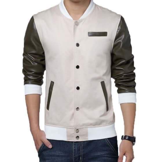 Zogaa New Spring Men's Jacket Leather Splice Stand Collar
