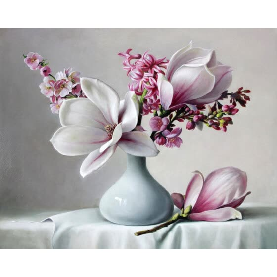 Acrylic Paint Magnolia Flower DIY Painting By Numbers
