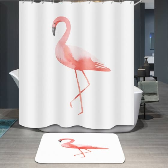 Yuhuaze Nordic migratory bird shower curtain polyester cloth waterproof mildew machine shower curtain cloth toilet partition curtain thickened door curtain 180*180cm