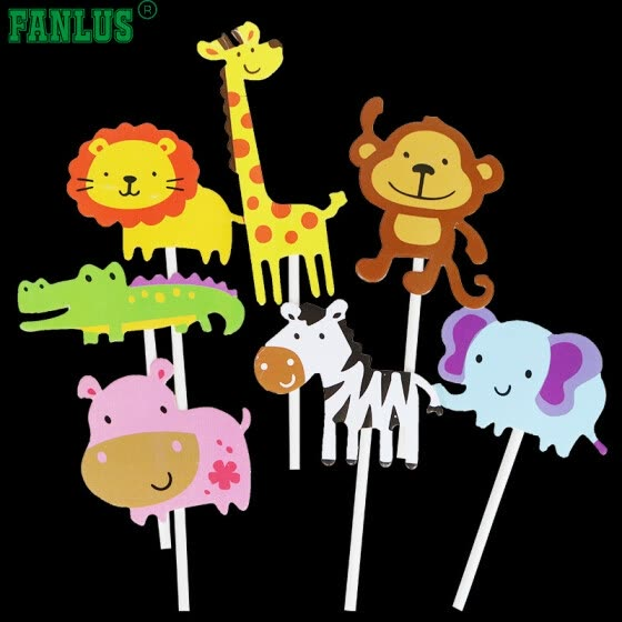 FANLUS Cute Zoo Animal Cupcake Toppers PicksJungle Animals Cake For Kids Baby Shower