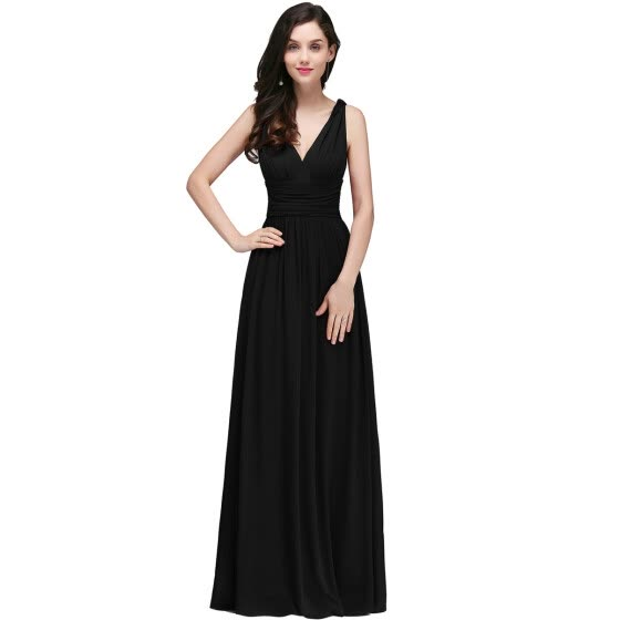 Lace A-line Long Evening Prom Formal Dresses V-neck Party Pageant Bridesmaid Gown Chiffon Dress