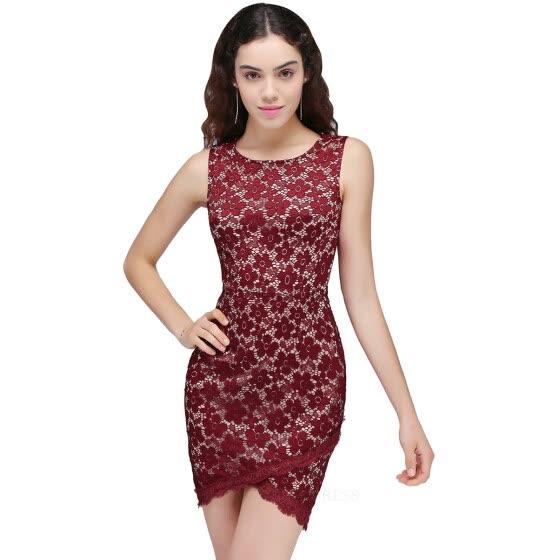 82038bbd20343 Shop Burgundy Short Lace Cocktail Dress Plus size 2017 Women Sexy ...