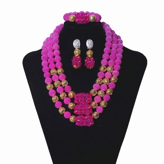 f107ae758 Purple Bridal Necklace African Jewelry For Women Set Dubai Gold Plated Ball  Wedding Beads Jewelry Handmade