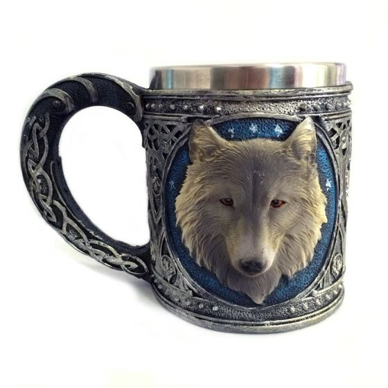 Personalized retro 3D wolf king Mug double stainless steel wolf cup coffee cup