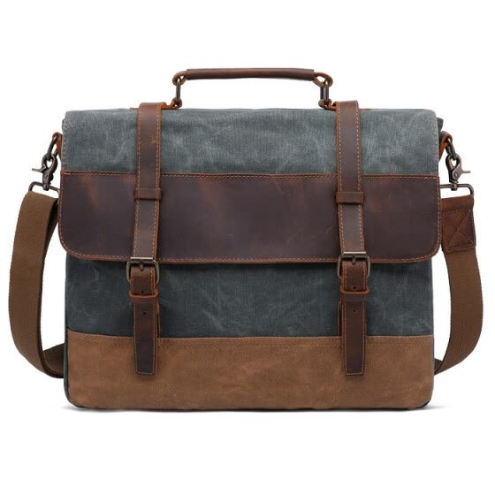 a9144c683007 Vintage Canvas Handbags Men Shoulder Bag Crazy Horse Leather Casual  Crossbody Bag Men s Travel Bags Laptop