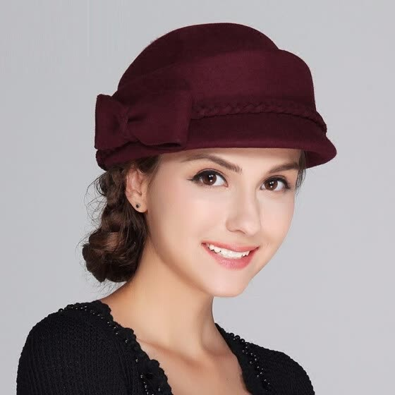 New Arrival Woman Autumn Winter Hat Lady Fashion Woolen Felt Hat Girls  Elegant Fashion Beret Cap 1cee1c103957