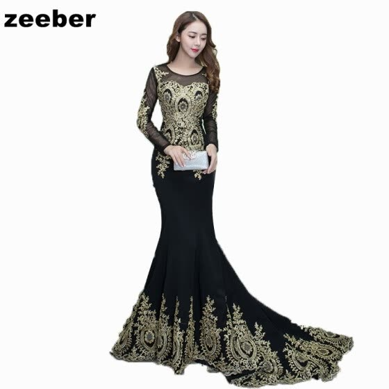 40f2d74b661 Sexy mermaid Evening Dresses Long Vintage Black Elegant long Sleeves Lace  Party Gown Prom Dress Women
