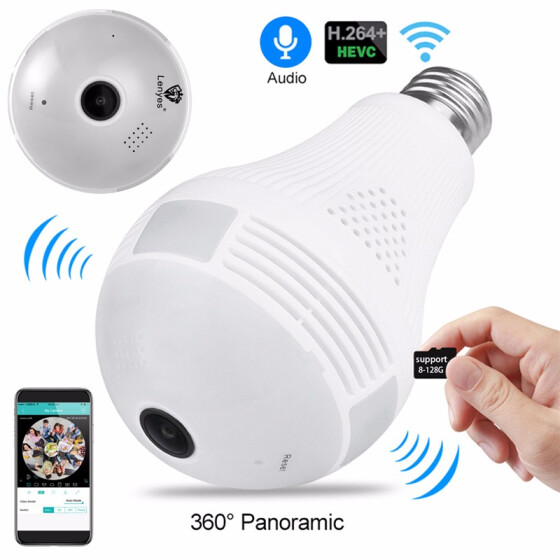360° Panoramic 960P Hidden IP Camera Light Bulb Motion Sensor WiFi Security