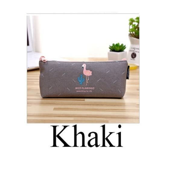 Fashion New School Supplies Cosmetic Large Capacity Flamingo Pencil Case Zip Coin Bag Canvas Makeup Pouch