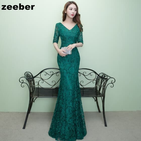 Sexy mermaid Evening Dresses Long Vintage Dark green Elegant Sleeves Lace  Party Gown Prom Dress Women Zipper Robe Evening Gown