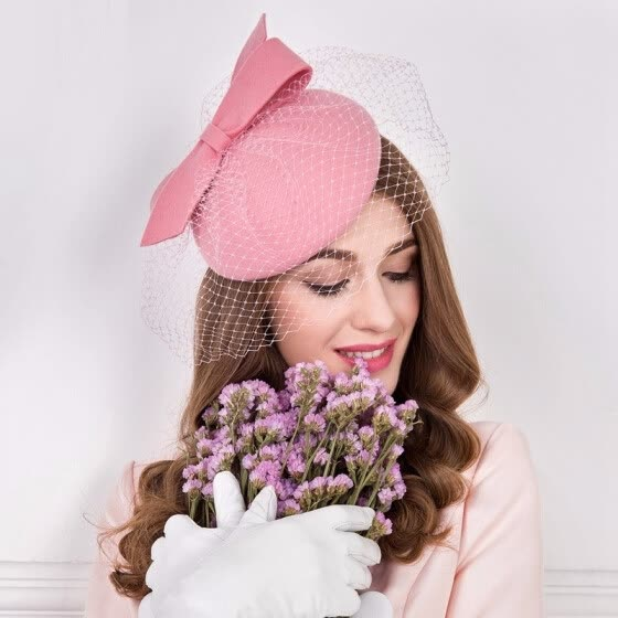 26dd0c95da11c 100% Wool Fedora Hat Fascinators for Women Elegant Pink Wedding Dress Tea  Party Pillbox Woolen