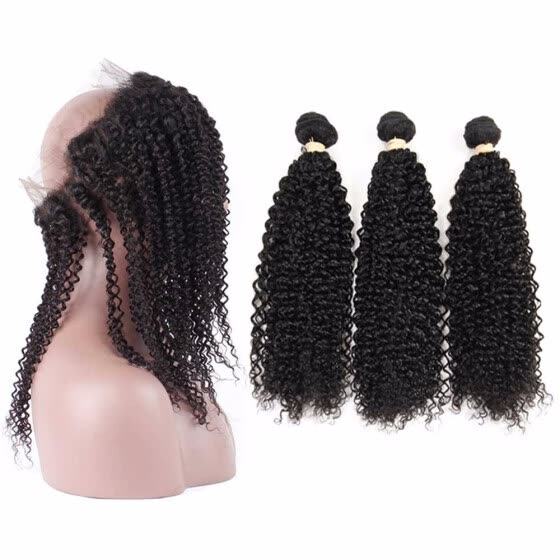 HCDIVA Malaysian Virgin Hair Kinky Curly 3 Bundle Hair with 360 Lace Frontal Closure with Baby Hair Natural Black For Black Women