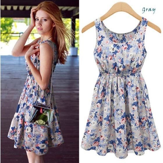 New Women's European Style Flower Print Sleeveless Vest Dress Ladies Party Evening Dress