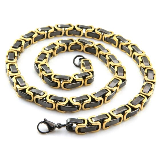 Shop Hpolw Huge Gold Black Square Byzantine Chain Necklace