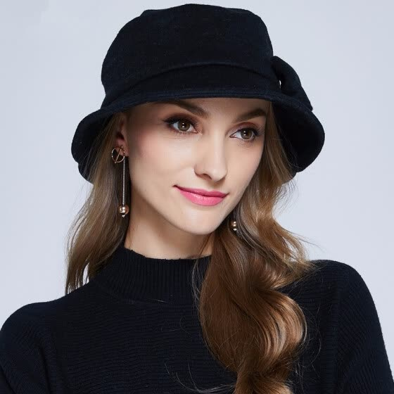 abc3ac5e63f New Wool Hat Winter Noble European Elegant Girls Fashion Cap Ladies Bucket  Woolen Hat Foldable Women