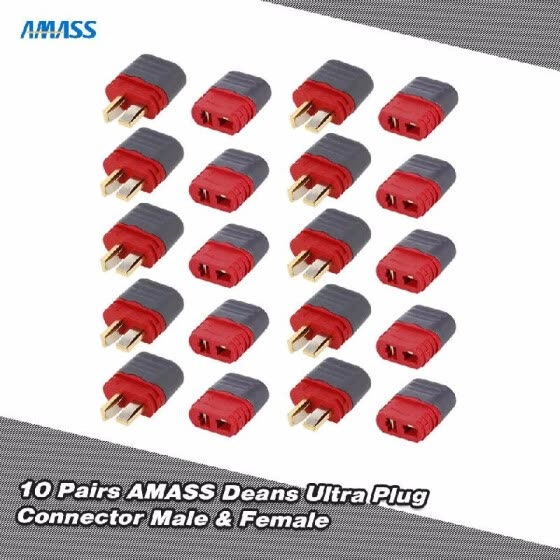 RC Truck Parts 10 Pairs Original AMASS Deans T Plug Connector Male Female Set for RC Car FPV Racing Quadcopter Multirotor Airplane
