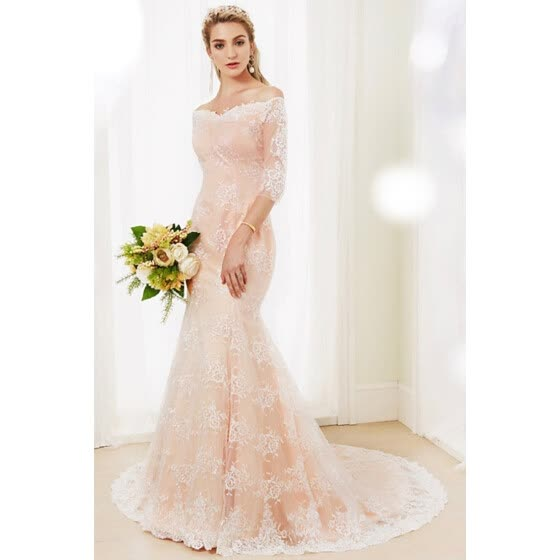 30ea79516f3 Mermaid   Trumpet Off Shoulder Court Train Floral Lace Wedding Dresses with  Buttons by CIRCELEE®