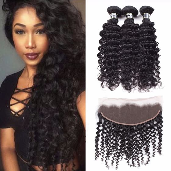 Amazing Star Bundles with Frontal Peruvian Virgin Hair Deep Wave with Frontal Deep Wave Human Hair with Frontal Natural Color