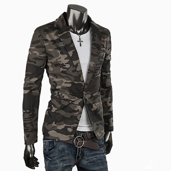 352d16784689a Zogaa Men's Suit Classic Camouflage Pure Cotton Slim Army Single-breasted