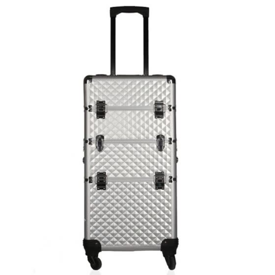 3 layers cosmetic profession travel trolley makeup box beauty case professional large Luggage suitcase Bag makeup Aluminum frame