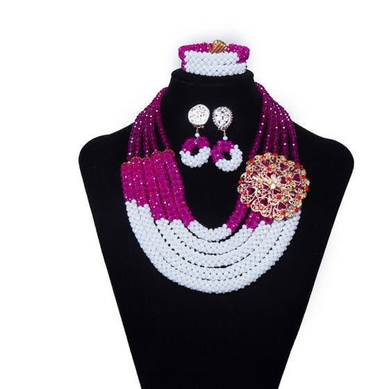 AMYNOVA 5 Rows Crystal Beads African Beaded Necklace Nigerian Wedding Beads Bridal Jewelry Women African Costume Jewelry Set