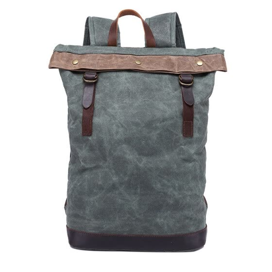 Vintage Backpack Men Manual Waterproof Canvas&Crazy Horse Leather Travel Shoulder Bag Male Large Capacity Computer Bags
