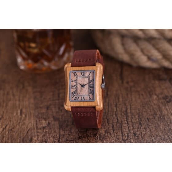 Minimalist Creative Wooden Watch Modern Mens Rectangle Roman Dial Bamboo Leather Band Nature Wood Quartz Wrist Watch Clock Gifts