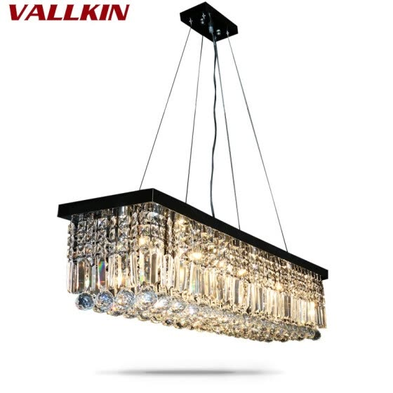 Crystal Pendant Lights Black Light Fixtures For Dining Room Living Study Indoor Home Hanging