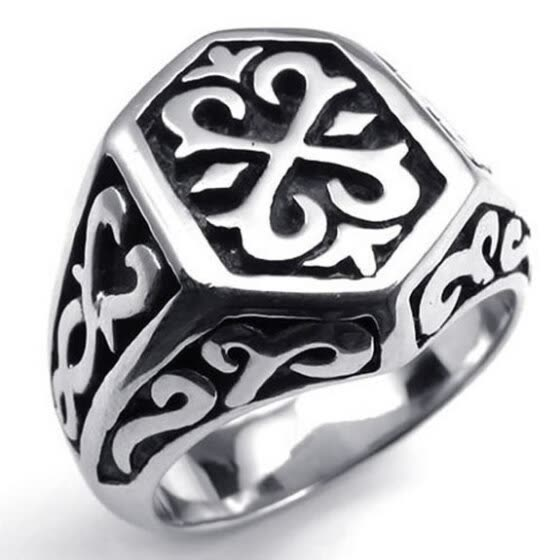 Hpolw Stainless Steel Thors Hammer Men's Ring, Color Black Silver