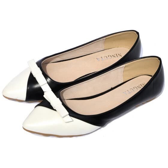 Fashion bow point toe flat shoes women ballet flats women