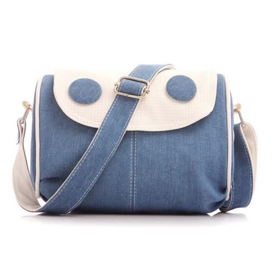 SMOOZA Cute button Cover Bag New Preppy Retro Denim Girls Shoulder Bag Female Jeans Personalized Women's Handbag messenger bag